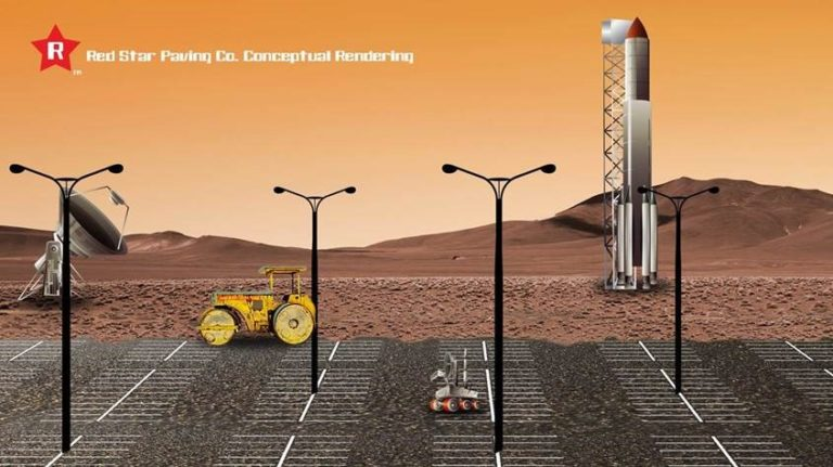 Red Star Paving Co. awarded $53.5 billion contract for the first ever Rover Parking Lot on Mars